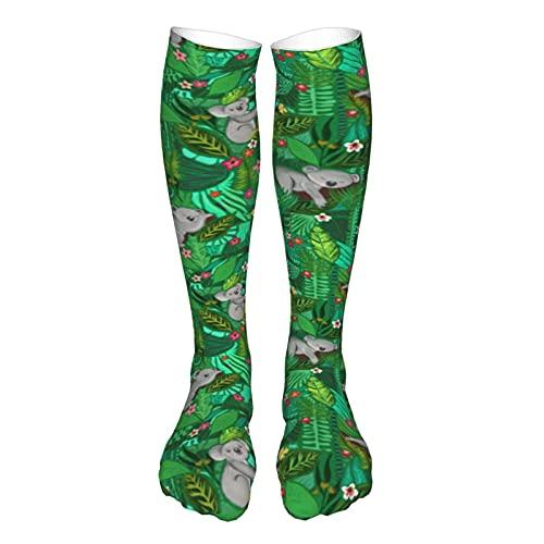 Calcetines de compresión para mujer y hombre, lindos koalas entre hojas de selva y flores, el mejor soporte para correr, deportes, senderismo, viajes en vuelo, circulación