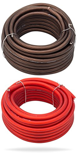 InstallGear 8 Gauge 25ft Black and 25ft Red Power/Ground Wire True Spec and Soft Touch Cable
