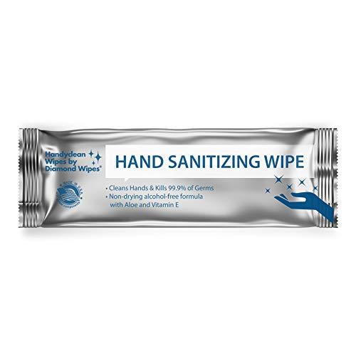 """Handy Clean Hand Sanitizing Wipes Pack of 250 Individually Wrapped Fresh Scented 5x8"""" Towelettes with Antimicrobial Protection for Adults and Kids"""