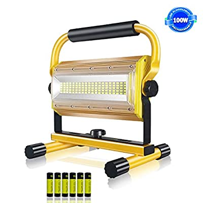 Rechargeable LED Flood Light,SONEE 100W Super Bright Waterproof Portable LED Work Light with Stand for Workshop Construction Site Camping Hiking Truck Repairing Job Site Light