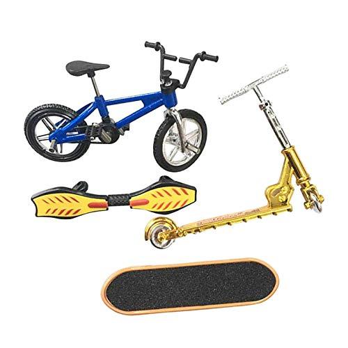 Perfeclan Mini Juego de Juguetes de Dedo monopatín Bicicletas de Dedo Scooter pequeño Swing Board 4 unids/Set - Un