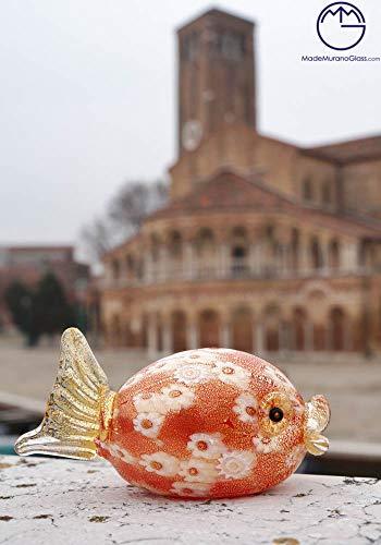 Murano Glas Fisch mit Murrina und Gold 24 Karat Murano mundgeblasenem Glas