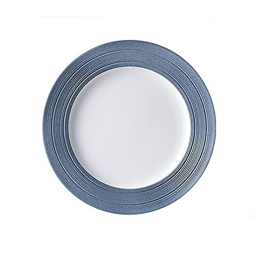 Xiangxiang Platos para Hornear Placas de Cena de Porcelana Grandes,Placa de 6 Pulgadas,Postre Redondo,Pasta,Placa de Ensalada,Blanco con Adornos Azules,3pc. Plato para Cena