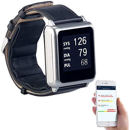 newgen medicals Pulsuhr: Medizinische Blutdruck-Armbanduhr mit Pumpe, E-Ink, Bluetooth & App (Puls-Blutdruck-Uhr)