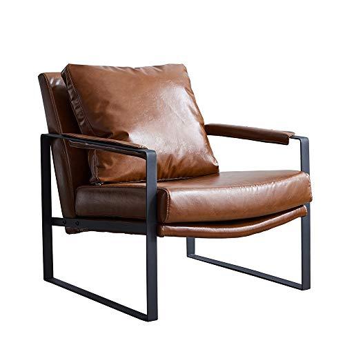 ZoSiP Sofá Individual 1 Persona Silla de Asiento Habitación Individual Moderna Sillón Sala de Estar Muebles de Hierro Forjado Silla Perezosa del sofá (Color : Brown, Size : 70x86x75cm)