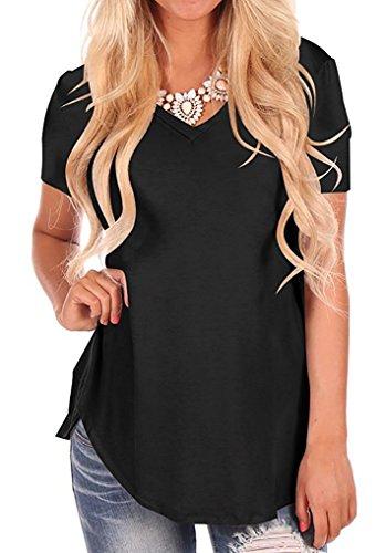 Bequemer Laden Manica Corta da Donna T-Shirt con Scollo a V Sciolto Casual Camicie Tops Blusa Tinta Unita per Donna Estiva