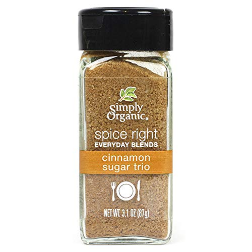 Simply Organic Spice Right Everyday Blends Cinnamon Sugar Trio, Certified Organic, Vegan, Vegetarian | 3.1 oz