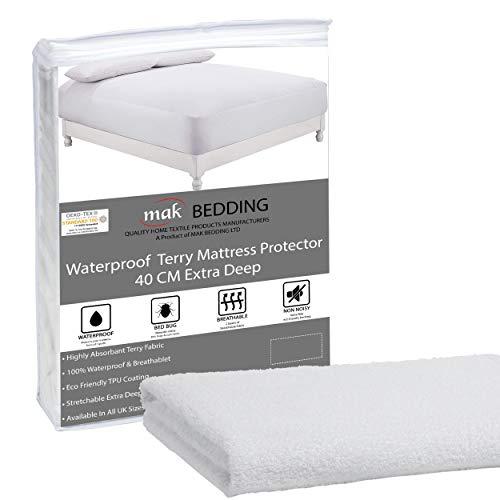 mak Waterproof Cot Bed Mattress Protector Terry Towel Mattress Topper - 40cm Extra Deep Box Stretch Skirt - Machine Washable Mattress Cover