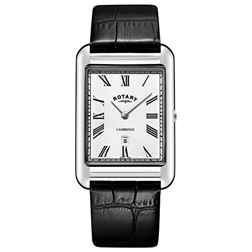 Rotary Reloj de Correa de Cuero Negro Cuadrado Fecha Cambridge para Hombre GS05280/01