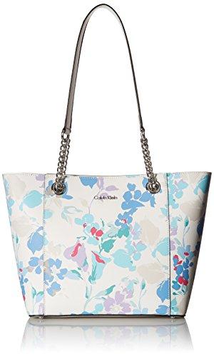 Calvin Klein Hayden Saffiano Leather Top Zip Chain Tote, floral white