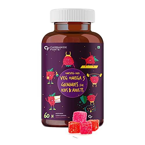 Carbamide Forte Veg Omega 3 250mg - Gummies for Men, Women & Kids with Veg DHA | No Fish oil Used - 60 Veg Gummies