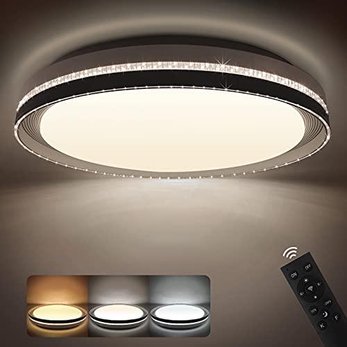 NIXIUKOL Plafon LED Techo Regulable 42W Lámpara de Techo Regulable con Mando a Distáncia 4000LM 3000K-6500K Lampara Techo Luz para Salón, Dormitorio, Cocina, Cristal 40cm