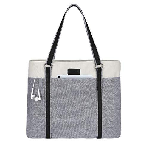 LIVACASA Laptoptasche Damen Business Tote Bag 15.6 Zoll Laptop Verschleißfest Handtasche Notebooktasche Leicht Umhängetasche Schopper Arbeit Aktentasche Schultertasche für Business Schule Hellgrau