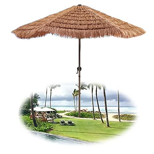 DFVV Ombrellone in Paglia (Imitazione Paglia), Ombrellone da Giardino Esagonale da 210cm, Spiaggia Piscina Protezione Solare Tavolo Ombrellone, Colore Naturale