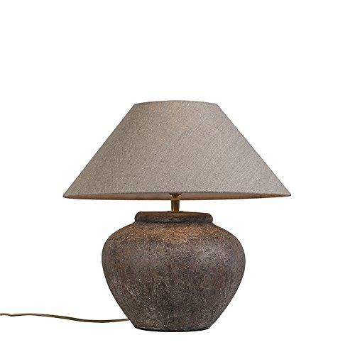 QAZQA Klassisch/Antik/Landhaus/Vintage/Rustikal/Retro Country Tischlampe braun mit Schirm - Palma XS Vintage/Innenbeleuchtung/Wohnzimmerlampe/Schlafzimmer Stein/Beton/Textil Rund LED ge