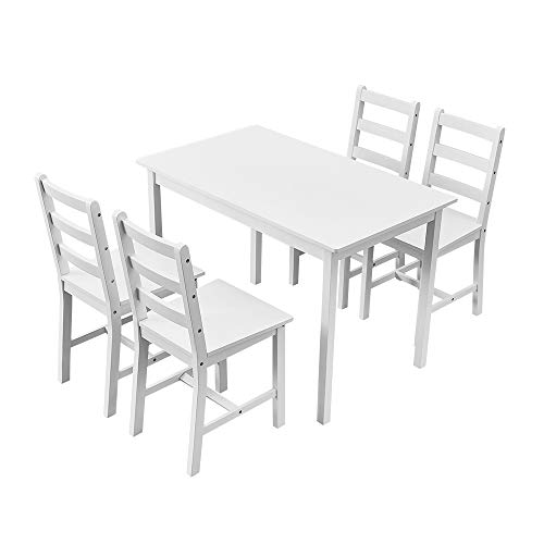 Panana Wooden Dining Table with 4 Chairs Sets Contemporary Dining Room Furniture (White)