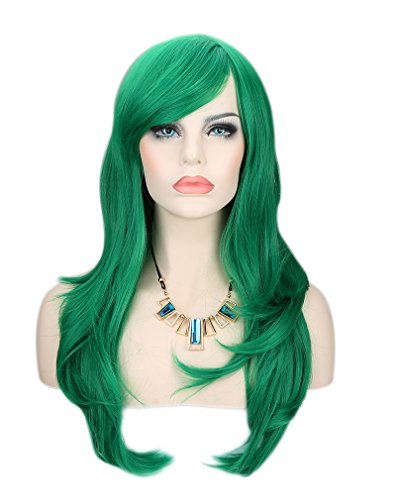 """Kalyss 24"""" Heat Resistant Curly Wavy Synthetic Hair Wig Women's Cosplay Costume Wigs with Hair bangs(green)"""