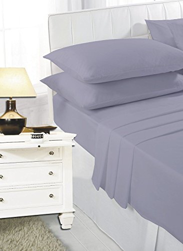 K Collection Percale Easy Care Polycotton Fitted Sheets Single - Double - King - Super King - Pillowcases (King, Silver/Grey)