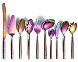 Berglander Juego de cubiertos para servir 10 piezas con mango de superficie lunar y cabeza de arcoíris brillante chapado en titanio acero inoxidable coloridas cuberteria cucharas utensilios