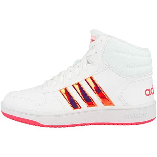 adidas Unisex Hoops MID 2.0 K Sneaker, Ftwbla/Ftwbla/Rossen, 38 2/3 EU
