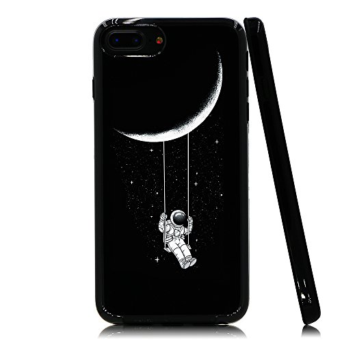 Lartin Astronaut Riding a Swing Tethered to The Moon Soft Flexible Jellybean Gel TPU Case for iPhone 8 Plus/iPhone 7 Plus/iPhone 6S Plus/iPhone 6 Plus