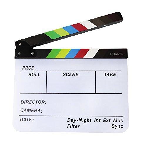 Koolertron - Claqueta Plástica acrílica de Cine Seco y Borrado Director film clapboard (9.85x 11,8 pulgadas) con los palillos del color