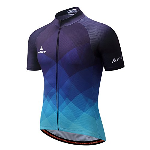 AZUOYI Men's Cycling Jersey Set Bicycle Short Sleeve Set Quick-Dry Breathable Shirt+3D Cushion Shorts,A,XXL