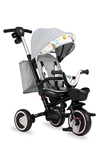 MOMI INVIDIA 5-in-1 Kinder-Dreirad mit Buggy-Funktion mit 360 ° Sitz, für Kinder ab 9. Lebensmonat bis 5 J., Stabiler Rahmen, Sitz mit 5-Punkt Sicherheitsgurt, UV-Schutz, Räder aus PU, Teleskopgriff