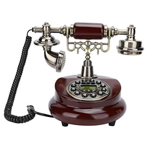 Teléfono retro antiguo, clásico teléfono de oficina con cable de escritorio Pulsador giratorio de línea única Teléfono de escritorio con cable Oficina en casa, sistema dual FSK / DTMF Teléfono fijo