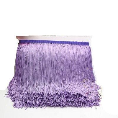 Yalulu 10 metros de largo y 15 cm de ancho, borla sedosa con flecos cortados para disfraz, accesorio de costura (morado)
