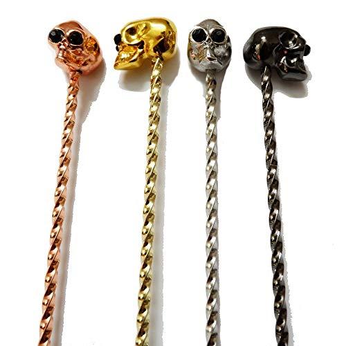 Cocktail-Werkzeug, Totenkopf, Cocktail-Löffel, Edelstahl, Rührlöffel, Spiralmuster, Bar-Werkzeug, 33 cm