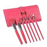 Kit di 7 pennelli make-up - il suo rosa finto-pelle etui