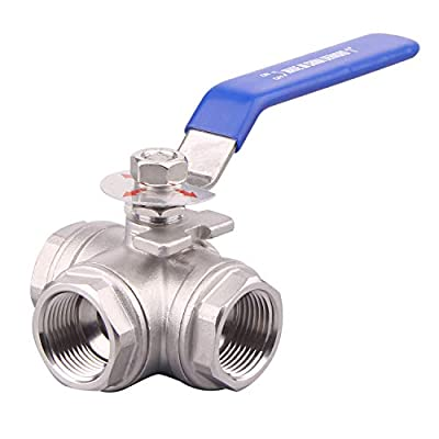 DERNORD 3-Way Ball Valve, T Mounting Pad, Stainless Steel 304 Female Type with Vinyl Locking Handle (1/2 Inch NPT) from DERNORD