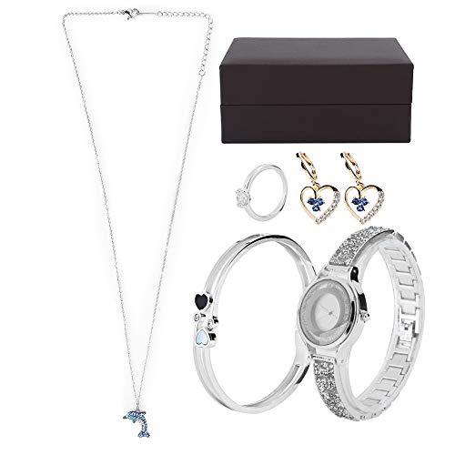 Pendientes, anillo, collar, con caja de regalo, juego de regalo de joyería, alta calidad para niñas, novias, vacaciones, uso, reloj, pulsera, pendientes(Silver)