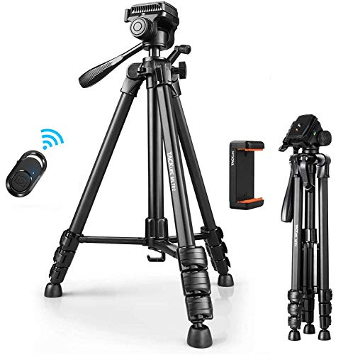 TACKLIFE Tripod, 60-Inch Aluminum Camera/Phone/Travel Tripod, Max Load of 11 Lbs, 360 Degree Swivel with Wireless Bluetooth Remote, Universal Phone Mount, 1/4 Inch Screw Mount, Portable Bag - MLT02