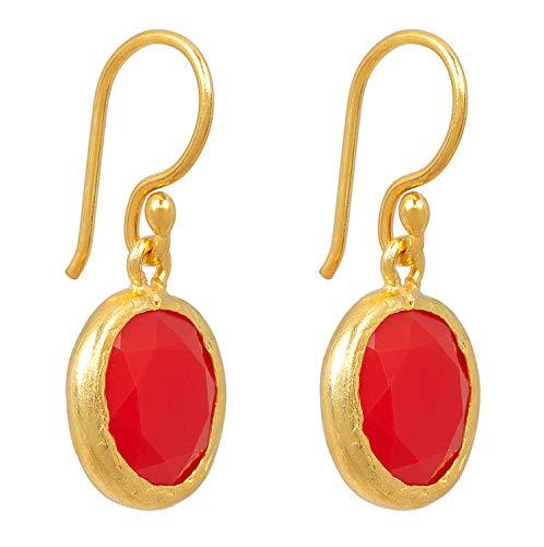 SARAH BOSMAN Damen Ohrringe Gold Plate Orange Jade - Runde Ohrhänger Silber vergoldet eingefasster Oranger Edelstein - 14 mm Durchmesser - SAB-E03ORAJAD