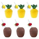 Feelava Hawaiian Luau Vasos de plástico,6 vasos de plástico para bebidas de coco y piña con 6 pajitas de frutas,tazas hawaianas de prevención de fugas y pajitas flexibles para