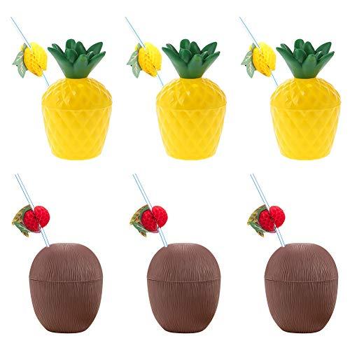 Feelava Hawaiianische Luau-Kunststoffbecher-Set,6 Stück Kunststoffbecher für Kokosnuss und Ananas mit 6 Stück Fruchtstrohhalmen,Trinkbecher und biegbare Trinkhalme für Strand-Mottoparty-Zubehör
