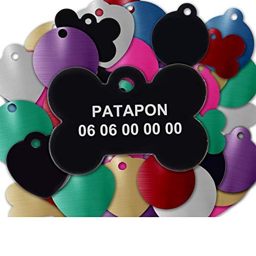 GRAVURE CONCEPT Médaille pour Chien Et Chat À Personnaliser – Médaillon Gravé 31 mm - 1 à 2 Lignes – 8 Couleurs Disponibles (Noir, Os)