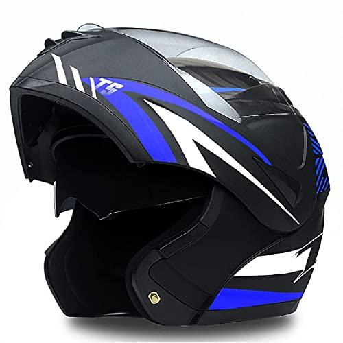 hongweifd Casco de motocicleta con doble lente antivaho, aprobado por el DOT, para adultos y hombres y mujeres, casco de motocicleta modular (máscara + guantes) (azul mate, XS