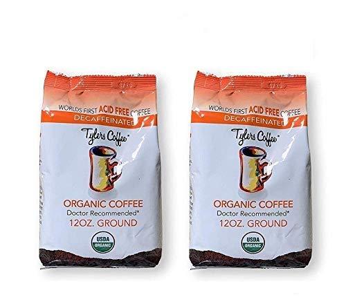 Tylers Coffee Acid Free Organic Decaf Coffee 12 Oz Bag (Ground) | (Pack of 2)