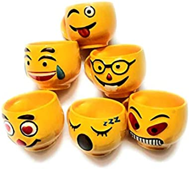 Maya Creation Yellow Emoji Smiley Coffee Mug Tea Cup Set, 120ml, Set of 6 Coffee Mugs/Tea Cups Great Gifting idea for him and