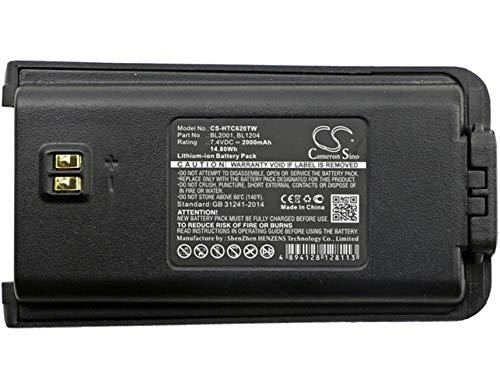 CS-HTC620TW Batteria 2000mAh compatibile con [HYT] TC-610, TC-610P, TC-610S, TC-618, TC-620, TC-626, per [HYTERA] TC-610, TC-610P, TC-618, TC-620, TC-626 sostituisce BL1204, per BL2001