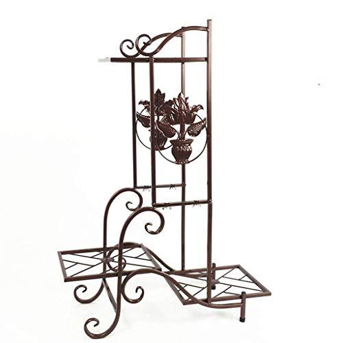 Présentoir de plantes, support de plancher européen simple, balcon intérieur à plusieurs niveaux, support pour pot de fleurs en fer forgé (57 * 79cm) (Couleur : Brown)