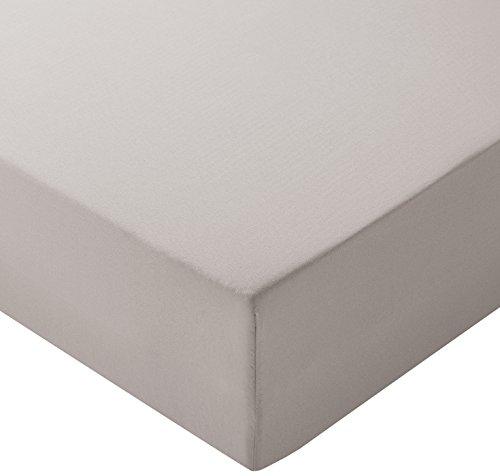 Amazon Basics - Lenzuolo con angoli in microfibra, 160 x 200 x 30 cm, Grigio chiaro