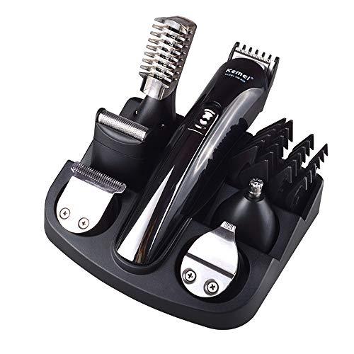 Rasierer, Herren Elektrische Haarschneidemaschine 6 in 1 Set, Kemei Nasenhaarschneider, Beschriftung Trimmer, Körperhaartrimmer, Mikrorasierer, Präzisionstrimmer, Haarschneider für Männer - Schwarz