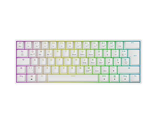 Mizar MZ60 Luna Hot-Swap Mechanische Gaming-Tastatur - 62 Tasten Mehrfarbige RGB-LED-Hintergrundbeleuchtung für PC-/Mac-Spieler - ISO Deutsches Layout (Weiß, Gateron Brown)