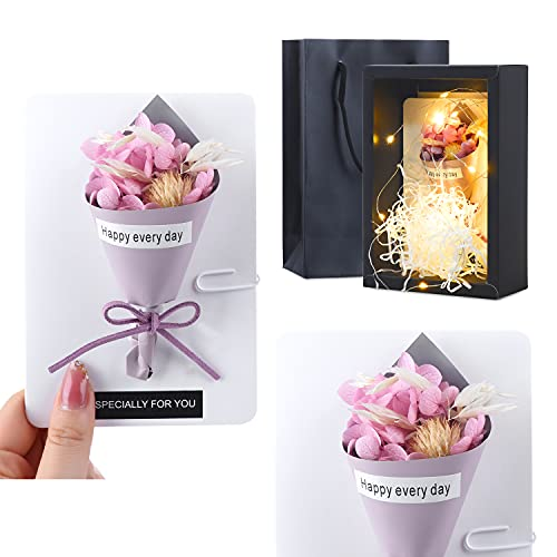 Dried Flowers Greeting Cards with LED Gift Box,Handmade Thank You Cards for Birthday Party, Valentines Day, Mothers Day