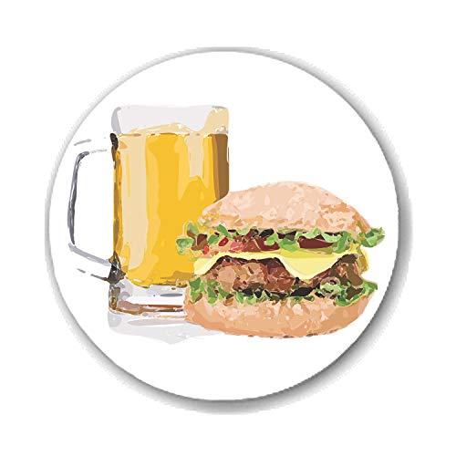 Gifts & Gadgets Co. Anstecknadel Bier und Burger, 58 mm, rund, bedruckt