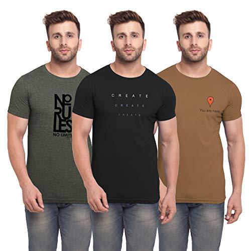 BULLMER Men's Slim Fit T-Shirt (Pack of 3) (BUL-BSP015_012_021-L_Multicolored_Large)